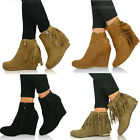 New Womens Fringed Low Wedge Heel Ankle Boots Ladies Tassel Suede Shoes Size 3-8