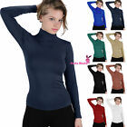 basic long sleeve soft seamless stretch turtleneck