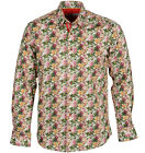 Claudio Lugli Mens L/S Floral Printed Formal Style Classic SHIRT Red