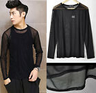 Men's Comfy Gauze Mesh Black Round Back Pullover T-shirt Thin Smooth Tees Tops