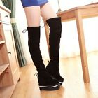 Stylish Womens Over Knee High Boots Hiden Wedge Platform Lace Up Creeper Shoes