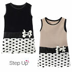 NEW Childrens Girls Sleeveless Polkadot Print Bow Smart Party Dress Ages 2-12