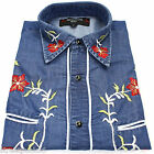 Relco Denim Blue Cowboy Western Line Dancing Flower Embroidered Shirt Rodeo New