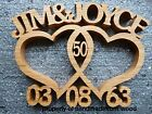 Wooden Entwined hearts/personalised wedding/anniversary gift/2 names/dates