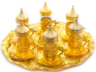 Turkish Zamac Glass Tea Sherbet  Water Serving Set, Tray Mugs Sugar Bowl Arabic