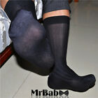 2/4/8Pairs Lot Men's Black Striped Dress Socks,Thin Sheer Socks For Business Men