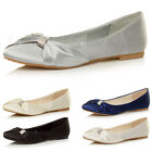 WOMENS LADIES FLAT EVENING BRIDESMAID BRIDAL WEDDING DOLLY BALLERINA SHOES SIZE