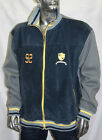 Men's Phat Farm Forest Navy/Grey 100% Genuine Leather Track Jacket
