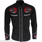 Relco Black Red Rockabilly Biker Western Cowboy Skull Flame Embroidered Shirt