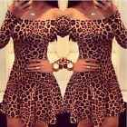 Womens Sexy Leopard Bodycon Evening Party Cocktail Mini Skater Short Dress G013
