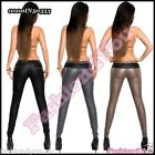 Sexy Ladies Leather Look Trousers Casual Womens Treggings Size 6,8,10,12,14 UK
