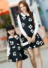 Autumn FAMILY Floral sleeveless Dresses Woman Girl Black Parent-child Vest dress