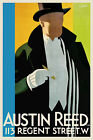 Vintage Art Deco Poster Top Hat 1920s Austin Reed London English Cigar White Tie