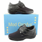 Ladies Womens New Black Leather Extra Wide Fit Velcro Comfort Ladies Shoes 3 - 8