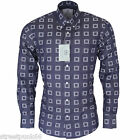 Relco Mens Platinum Navy Blue Abstract Square Long Sleeved Button Down Shirt Mod