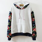 New Women Casual Floral Sleeve Pullover Hoodie Sweatshirt Loose Jacket Coat Tops