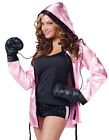 KNOCKOUT! WOMENS FEMALE LADIES BOXING PINK BOXER FANCY DRESS GLOVES COSTUME SET