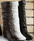US Hot Fashion Women's Low Heel Comfort Boots Knee High Sexy New Shoes US Size