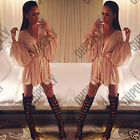 Womens Wrap Drape Low Cut Wrap Shirt Cocktail Evening Party Top Tunic Nude Dress
