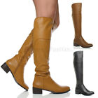 WOMENS LADIES WINTER MID HEEL ZIP RIDING KNEE HIGH BOOTS SIZE