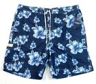 Chaps Blue Floral Brief Lined Swim Trunks Boardshorts Mens NWT