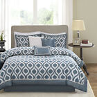 BEAUTIFUL MODERN CHIC CONTEMPORARY BLUE IVORY WHITE GREY COMFORTER SET & PILLOWS