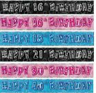 GLITZ FOIL BANNER - 9Ft Foil Wall Happy Birthday 1st-100th Party Decorations