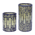 Battery Power Flickering Flame LED Candle With Timer Glass Mosaic Wax Lights