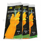 Latex Household Gloves Long Cuff Rubber Kitchen Dish Cleaning Wash Flock Lined