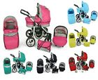 SILVER BABY TRAVEL SYSTEM 3in1 PRAM PUSHCHAIR CAR SEAT GREY FRAME 60 COLOURS