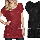 Uk Size 12 - 22 Ladies Long Knit Sparkly Jumper with Sequins in Red or Black