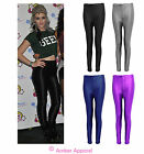 NEW WOMENS HIGH WAISTED AMERICAN DISCO LADIES PANTS SHINY LEGGINGS SIZE 6-14