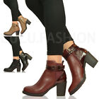 NEW WOMENS LADIES BLOCK HIGH HEEL ANKLE BOOTS SNAKE BUCKLE CASUAL SHOES SIZE 3-8