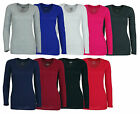 Women's Solid color basic V neck Long sleeve shirt PLUS too