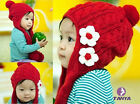 Winter Warm baby Long hat children ear cap stocking cap knitted Floral Scarf