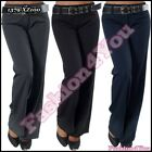 Sexy Womens Office Pants Ladies Bootcut Trousers + Belt Size 6,8,10,12,14,16 UK
