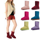 AM001 Women Girl Winter Snow Snowy Warm Mid-tude Solid Color Shoes Boots
