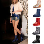 AM01 Women Girl Winter Snow Snowy Warm Mid-tude Medium Sequins Bling Shoes Boots