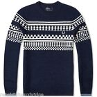 FRED PERRY Jumper Men's Crew Neck Wool Island Knit Sweater Navy Sizes: S & XL