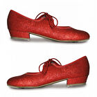 ROCH VALLEY LOW HEEL GLITTER EFFECT TAP SHOES CHILD 5-ADULT 5.5 RUBY RED DOROTHY