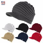 Unisex Winter Visor Beanie Knit Hat Cap Crochet Men Women Ski Thick Warm Acrylic
