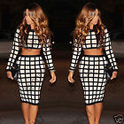 Womens Two Piece Nude Mesh Crop Top and Midi Length Bodycon Skirt Dress Set