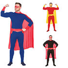 ADULT SUPERHERO FANCY DRESS COSTUME OUTFIT SUPER HERO MAN FLASH CAPE MENS MALE