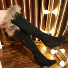 Fashion Womens Suede Fur Trim Winter Warm Over the Knee Boots Wedge Heeled Shoes