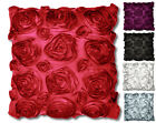 SATIN ROSE CUSHIONS Luxury Sofa Bed Scatter Faux Silk Floral Cushion Covers