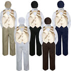 Boys Baby Toddler Kids Champagne Vest Bow Tie Formal Set Suit Hat S-7