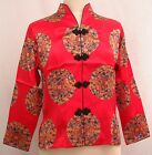 (NEW) Asian Inspired Chinese Medallion Print, 3/4 Sleeves Silk Blouse:  S/M/L/XL