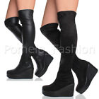 WOMENS LADIES CHUNKY BLOCK PLATFORM HIGH HEEL WEDGE OVER THE KNEE BOOTS SIZE