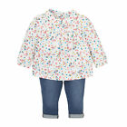 B Baby Newborn Girl's Floral Blouse Shirt Top and Jeggings Set