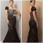 NWT JOVANI 1526 MARMAID ONE SHOULDER BLACK/GREY ROUCHED SKIRT $789 AUTENTIC $299